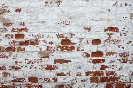 Photo for Red Brick Wall With Damaged White Plaster Background Texture Close-up - Royalty Free Image