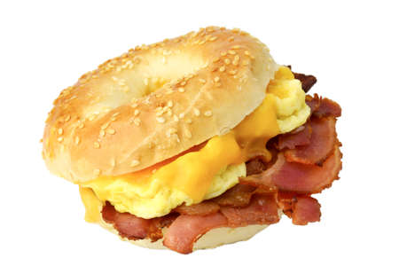 Photo for Bagel with fried bacon, scrambled eggs and cheddar cheese, studio isolated - Royalty Free Image