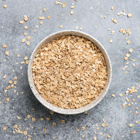 Photo for Rolled oats in bowl, healthy food, healthy eating concept. - Royalty Free Image