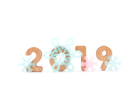 Photo for Happy New Year Banner with 2019 Numbers on Bright Background. - Royalty Free Image