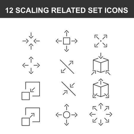 Illustration pour Simple Set of Scaling Related Vector Line Icons - image libre de droit