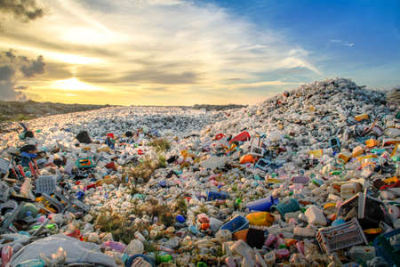 Photo pour Waste plastic bottles and other types of plastic waste at the Thilafushi waste disposal site - image libre de droit