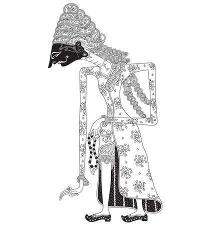 Illustration for Manumayasa, a character of traditional puppet show,  from Indonesia. - Royalty Free Image