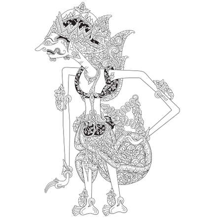 Illustration for Sentanu, a character of traditional puppet show, wayang kulit from java indonesia. - Royalty Free Image