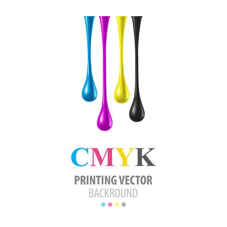 Illustrazione per CMYK shiny drops - Immagini Royalty Free