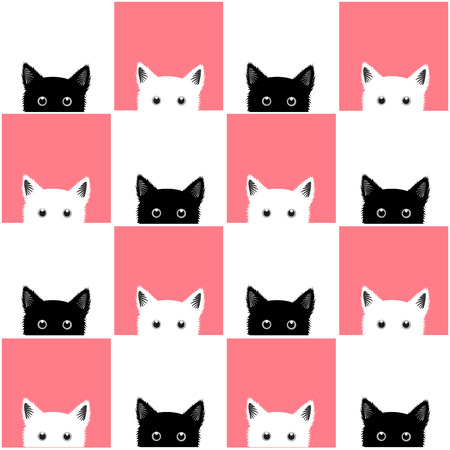 Photo for Black White Pink Cat Chess board Background Vector Illustration - Royalty Free Image