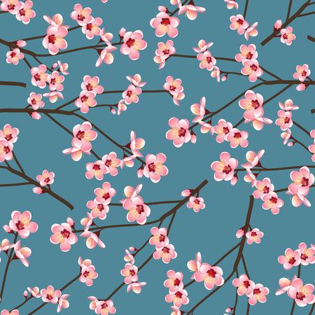 Ilustración de Momo Peach Flower Blossom Seamless on Blue Background. Vector Illustration. - Imagen libre de derechos