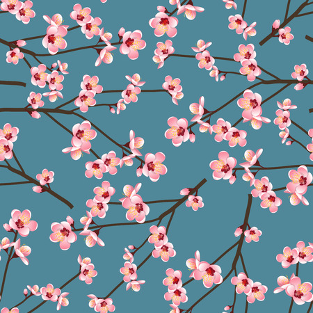 Illustration for Momo Peach Flower Blossom Seamless on Blue Background. Vector Illustration. - Royalty Free Image