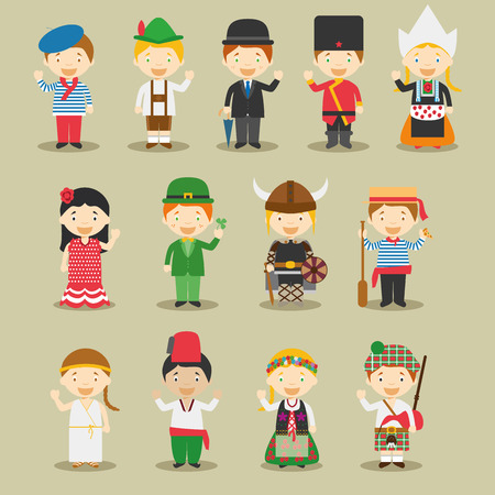 Illustration for Kids and vector nationalities of the world: Europe September 1. Set of 13 different characters dressed in national costumes France, Germany, UK, Russia, Polland, Spain, Ireland, Sweden, Italy, Greece, Turkey, Netherlands and Scotland. - Royalty Free Image