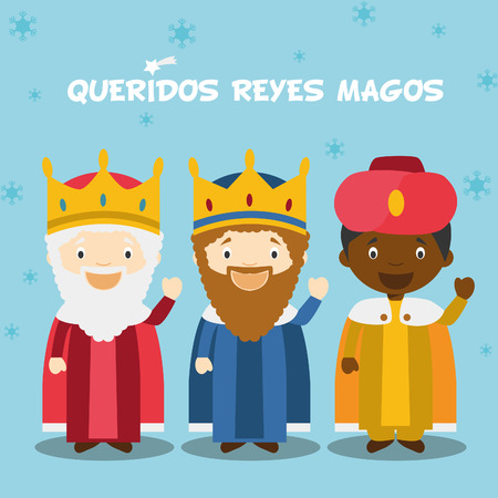 Illustrazione per Three Wise Men vector illustration for Christmas time in Spanish, with child characters. - Immagini Royalty Free