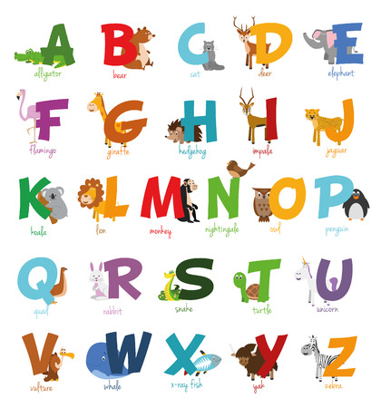 Illustration pour Cute cartoon illustrated alphabet with funny zoo animals.  - image libre de droit