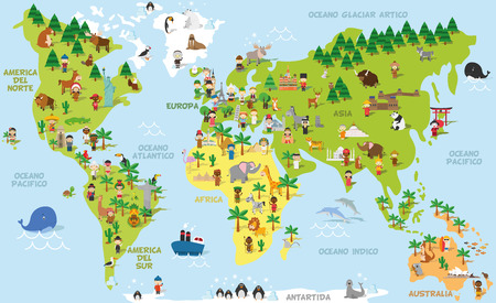 Illustration pour Funny cartoon world map with children of different nationalities, animals and monuments of all the continents and oceans. Names in spanish. Vector illustration for preschool education and kids design. - image libre de droit