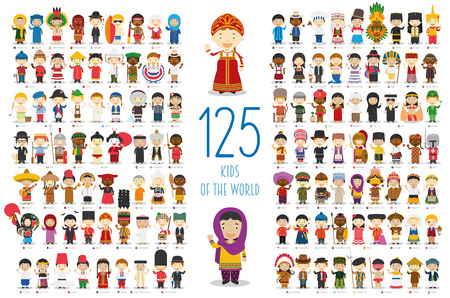 Illustration pour Kids of the World Vector Characters Collection: Set of 125 children of different nationalities in cartoon style. - image libre de droit