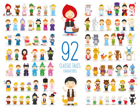 Illustration pour Kids Vector Characters Collection: Set of 92 Classic Tales Characters in cartoon style - image libre de droit