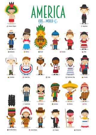 Illustration for Kids and nationalities of the world vector: America. Set of 25 characters dressed in different national costumes. - Royalty Free Image
