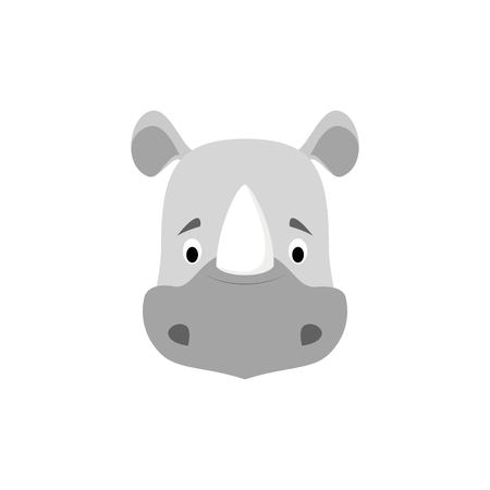 Illustration for Rhino face in cartoon style for children. Animal Faces Vector illustration Series - Royalty Free Image