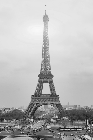 Photo pour The Eiffel tower is one of the most recognizable landmarks in the world under sun light,selective focus,Black and white - image libre de droit
