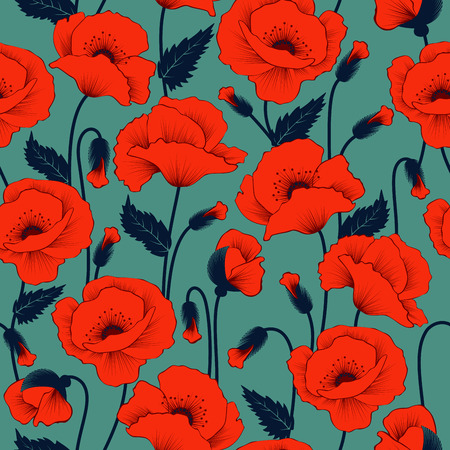 Illustration for Poppy seamless pattern - Royalty Free Image