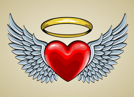 Illustrazione per red heart with angel wings and halo - Immagini Royalty Free
