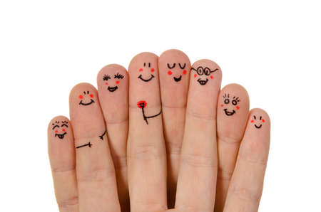 Photo pour Happy group of finger smileys isolated on white background - image libre de droit