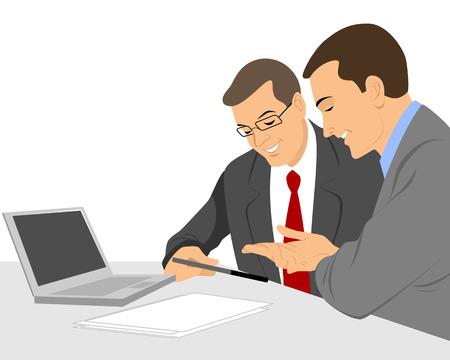 Ilustración de Vector illustration of a two businessmen talking - Imagen libre de derechos