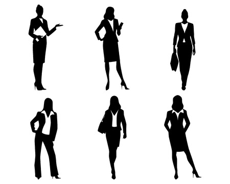 Illustration pour Vector illustration of a six businesswomen silhouettes - image libre de droit