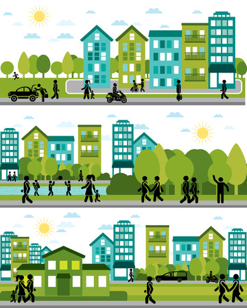 Ilustración de Vector illustration of a three city life scenes - Imagen libre de derechos