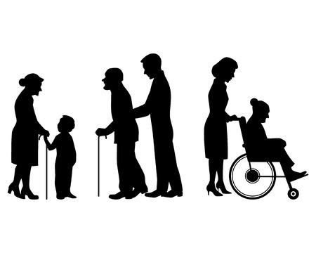 Illustrazione per Vector illustration of a elderly people silhouettes - Immagini Royalty Free