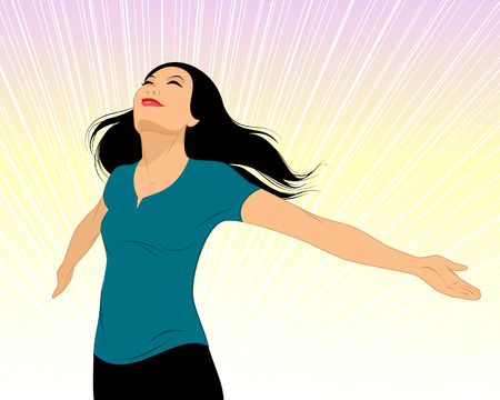 Illustration for Vector illustration of a girl spread her arms - Royalty Free Image
