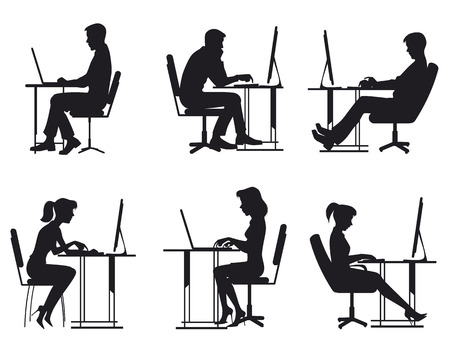 Illustration pour illustration of a people working at computer - image libre de droit