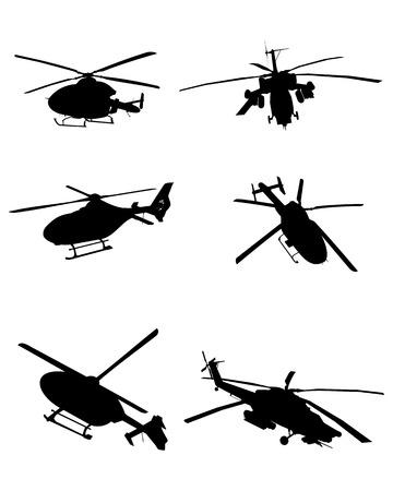 Illustration pour Vector illustration image of a six helicopters set - image libre de droit