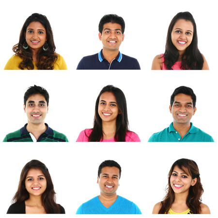 Foto de Collage of young Indian/Asian men and women portraits, isolated on white background. - Imagen libre de derechos