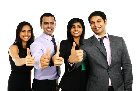 Foto de Asian Indian businessmen and businesswoman in group with thumbs up isolated on white. Successful Teamwork concept. - Imagen libre de derechos