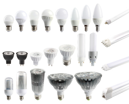Foto de A large set of LED bulbs isolated on white background. - Imagen libre de derechos