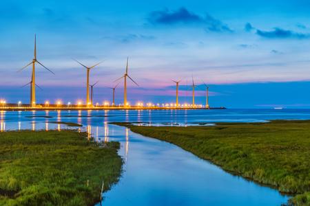 Foto de Gaomei Wetlands scenery at night - Imagen libre de derechos
