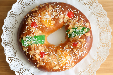 Photo for Roscon de reyes , Spanish typical dessert of Epiphany - Royalty Free Image