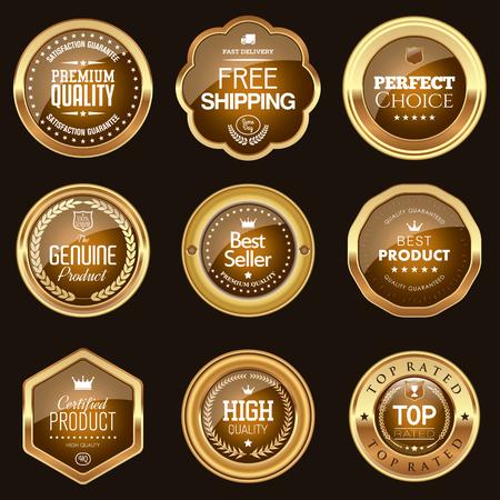 Ilustración de Set of brown badges - Imagen libre de derechos