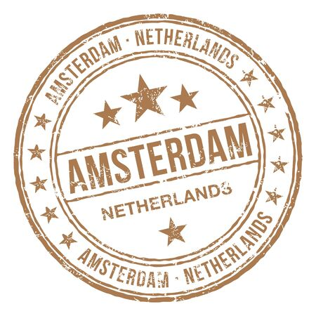 Illustration pour Amsterdam Netherlands Stamp - image libre de droit