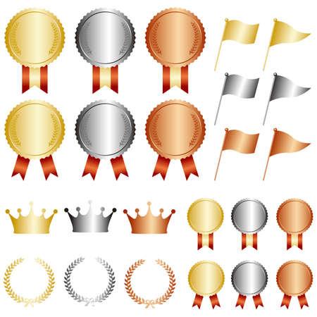 Illustration for gold silver bronze medal set - Royalty Free Image