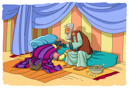 Photo for Jacob uses deception to take away from his father Isaac the blessing of his brother Esau - Royalty Free Image