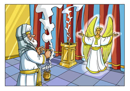 Foto de The Angel Gabriel appeared to the Priest of Zechariah in the Jerusalem Temple and reported the Birth of his Son. - Imagen libre de derechos