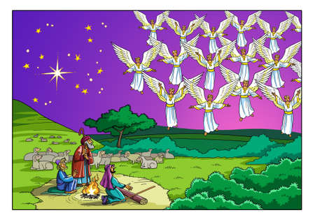Photo pour The Choir of Angels appeared before the Shepherds and sings a Song that glorifies God. - image libre de droit