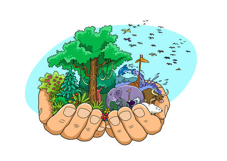Foto de The hands of God the Creator support the life of all nature, plants and animals. - Imagen libre de derechos