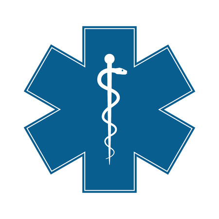 Ilustración de Medical symbol of the Emergency - Star of Life - icon isolated on white background. Vector - Imagen libre de derechos