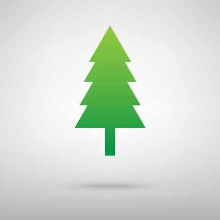Illustration pour New year tree icon with shadow on gray background - image libre de droit
