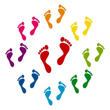 Ilustración de Foot prints icons colorfull set on white background - Imagen libre de derechos
