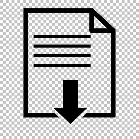 Illustration pour File download sign. Flat style icon on transparent background - image libre de droit