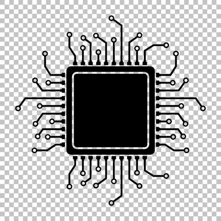 Illustrazione per CPU Microprocesso. Flat style icon on transparent background - Immagini Royalty Free