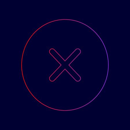 Illustration pour Cross sign illustration. Vector. Line icon with gradient from red to violet colors on dark blue background. - image libre de droit
