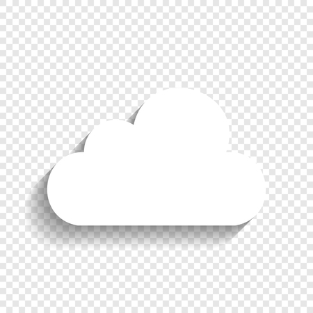 Ilustración de Cloud sign illustration. Vector. White icon with soft shadow on transparent background. - Imagen libre de derechos